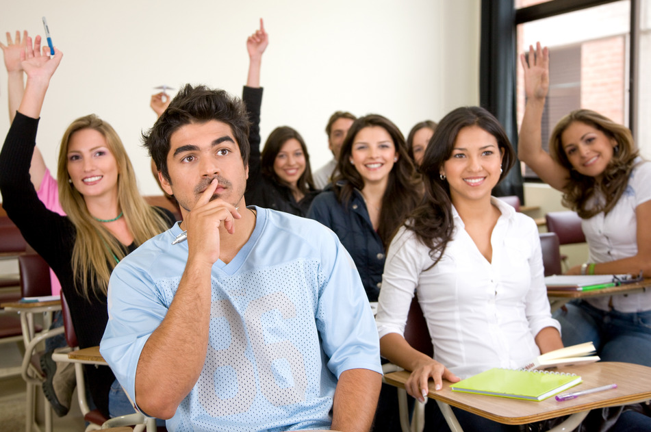 friends or university students in a classroom